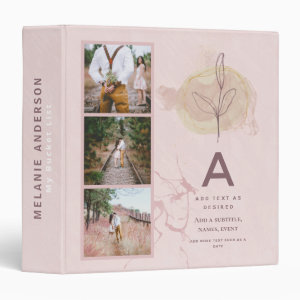 Abstract Personalized Photo Wedding Newlyweds Gift 3 Ring Binder