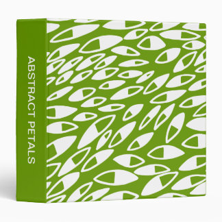 Abstract Petals (1.5in) White on Avocado Binder