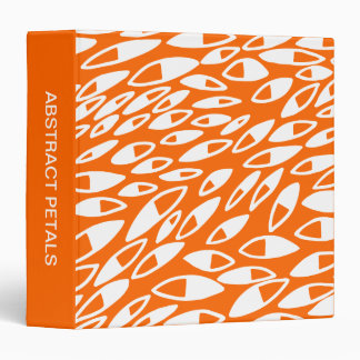 Abstract Petals (1.5in) White on Orange 3 Ring Binder
