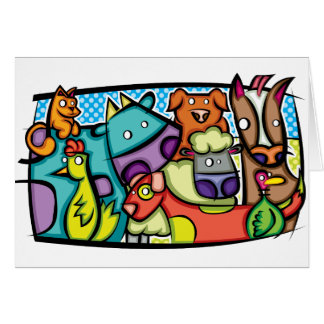 Abstract Petting Zoo Card