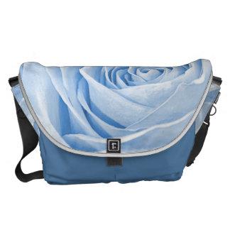 Abstract Photograph of a Light Blue Rose Messenger Bag