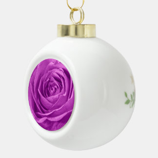 Abstract Photograph of an Orchid Colored Rose Ceramic Ball Christmas Ornament