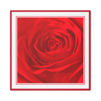 Abstract Photography Vivid Red Rose Center Metal Photo Print