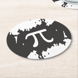 Abstract Pi Symbol Round Paper Coaster