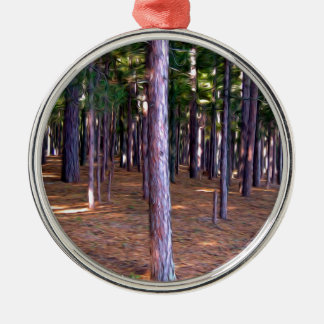 Abstract Pine Tree Forest Metal Ornament