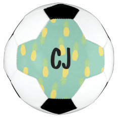 Abstract Pineapple Monogrammed Initials Soccer Ball at Zazzle