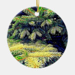 Abstract Pines Double-Sided Ceramic Round Christmas Ornament