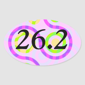 Abstract Pink 26.2 Marathon Oval Stickers