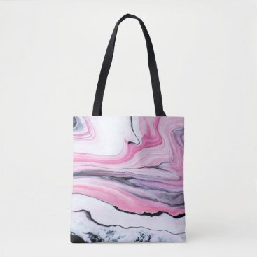 Beach Themed Abstract pink and black marble painted tote bag