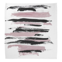 Abstract Pink and Black Strokes Bandana