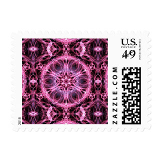 Abstract Pink and Blue Fractal Postage