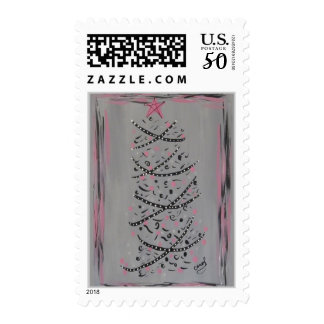 Abstract Pink and Grey Christmas Tree stamp
