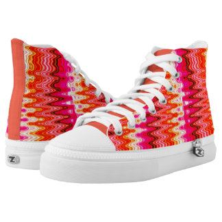 ABSTRACT PINK AND ORANGE PATTERNED HI TOP SNEAKERS PRINTED SHOES