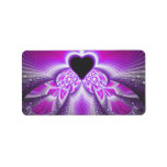 Abstract Pink And Purple Fractal Pattern Label