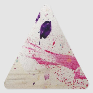 Abstract Pink and Purple Splatter Art Triangle Sticker