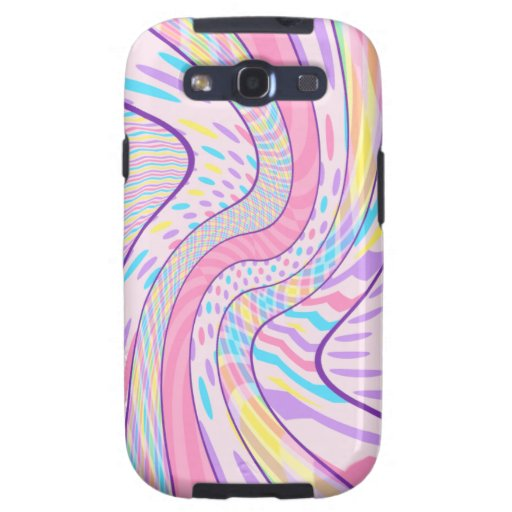 Abstract Pink and Purple Waves Samsung Galaxy SIII Cases