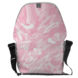 Abstract Pink and White Swirl Pattern Messenger Bag