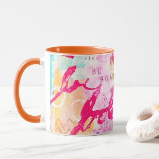 Abstract Pink Aqua Yellow Paint Splatter Colorful Mug