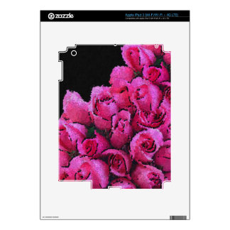 Abstract Pink Black Roses Decal For iPad 3