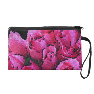 Abstract Pink Black Roses Wristlet Purse