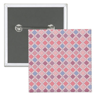 Abstract pink blue purple argyle pattern 2 inch square button