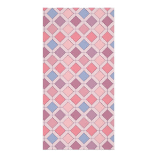 Abstract pink blue purple argyle pattern card