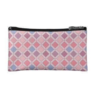 Abstract pink blue purple argyle pattern makeup bag