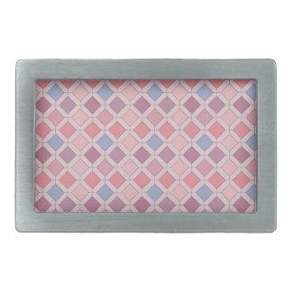 Abstract pink blue purple argyle pattern rectangular belt buckle