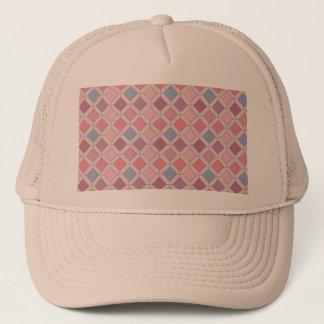 Abstract pink blue purple argyle pattern trucker hat
