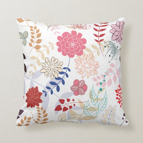 Abstract Pink Blue Tan Floral Throw Pillow