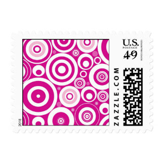 Abstract Pink Circles Postage Stamp