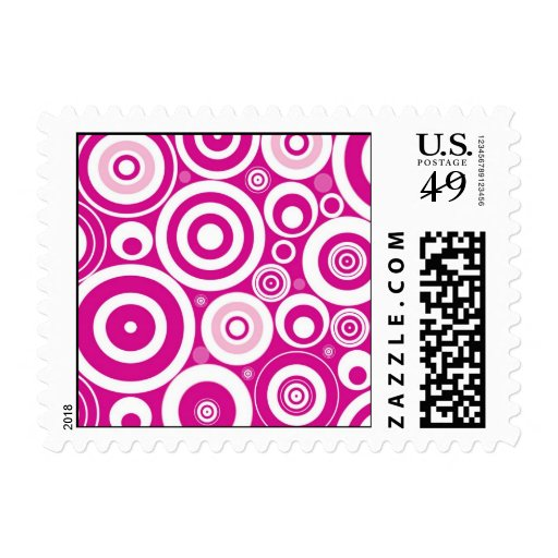 Abstract Pink Circles Postage Stamps
