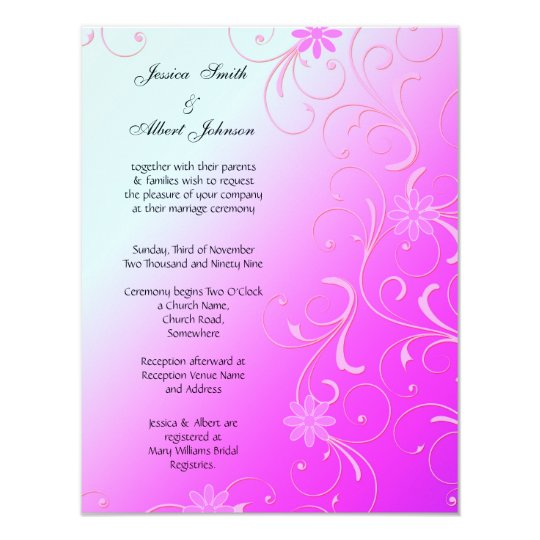 Abstract Pink Floral Template Wedding Invitation