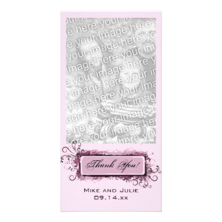 Abstract Pink Floral Thank You Personalized Photo Card