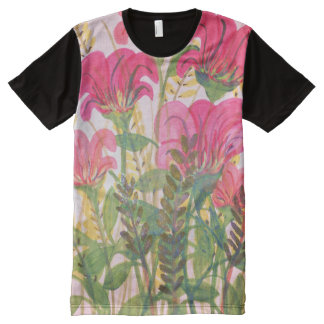 Abstract pink floral watercolor All-Over print t-shirt