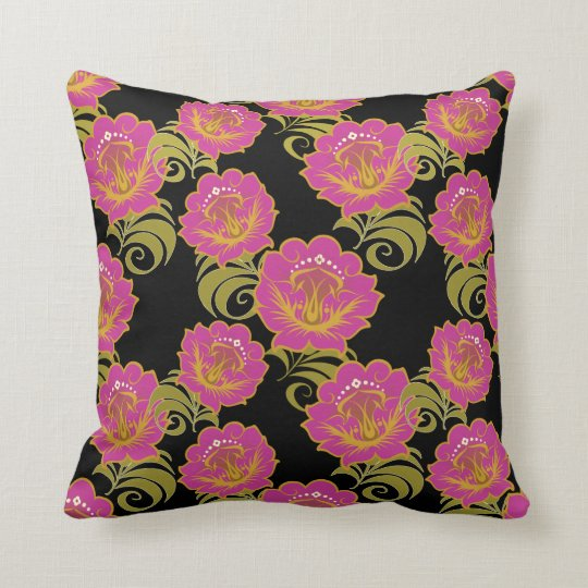 Abstract Pink Flowers #3 Throw Pillow