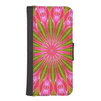 Abstract pink gem star iPhone & galaxy wallet case