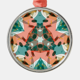 Abstract Pink, Green and Blue Kaleidoscope Pattern Metal Ornament