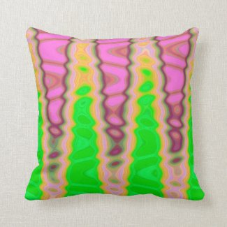 Abstract pink green cone pattern throw pillow