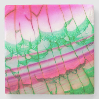 Abstract Pink Green Dragon Vein Agate Coaster