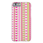 Abstract Pink green pattern + dots flowers hearts Barely There iPhone 6 Case