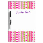 Abstract Pink green pattern + dots flowers hearts Dry-Erase Boards