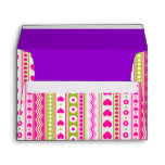Abstract Pink green pattern + dots flowers hearts Envelope