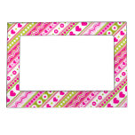 Abstract Pink green pattern + dots flowers hearts Frame Magnet