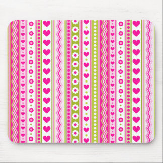 Abstract Pink green pattern + dots flowers hearts Mouse Pad