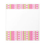 Abstract Pink green pattern + dots flowers hearts Note Pads