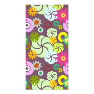 Abstract pink green yellow  floral pattern. card
