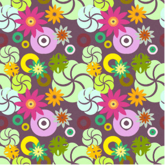 Abstract pink green yellow  floral pattern. standing photo sculpture