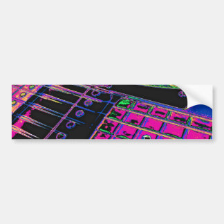 Abstract Pink Guitar Technicolor by Kara Willis Bumper Sticker