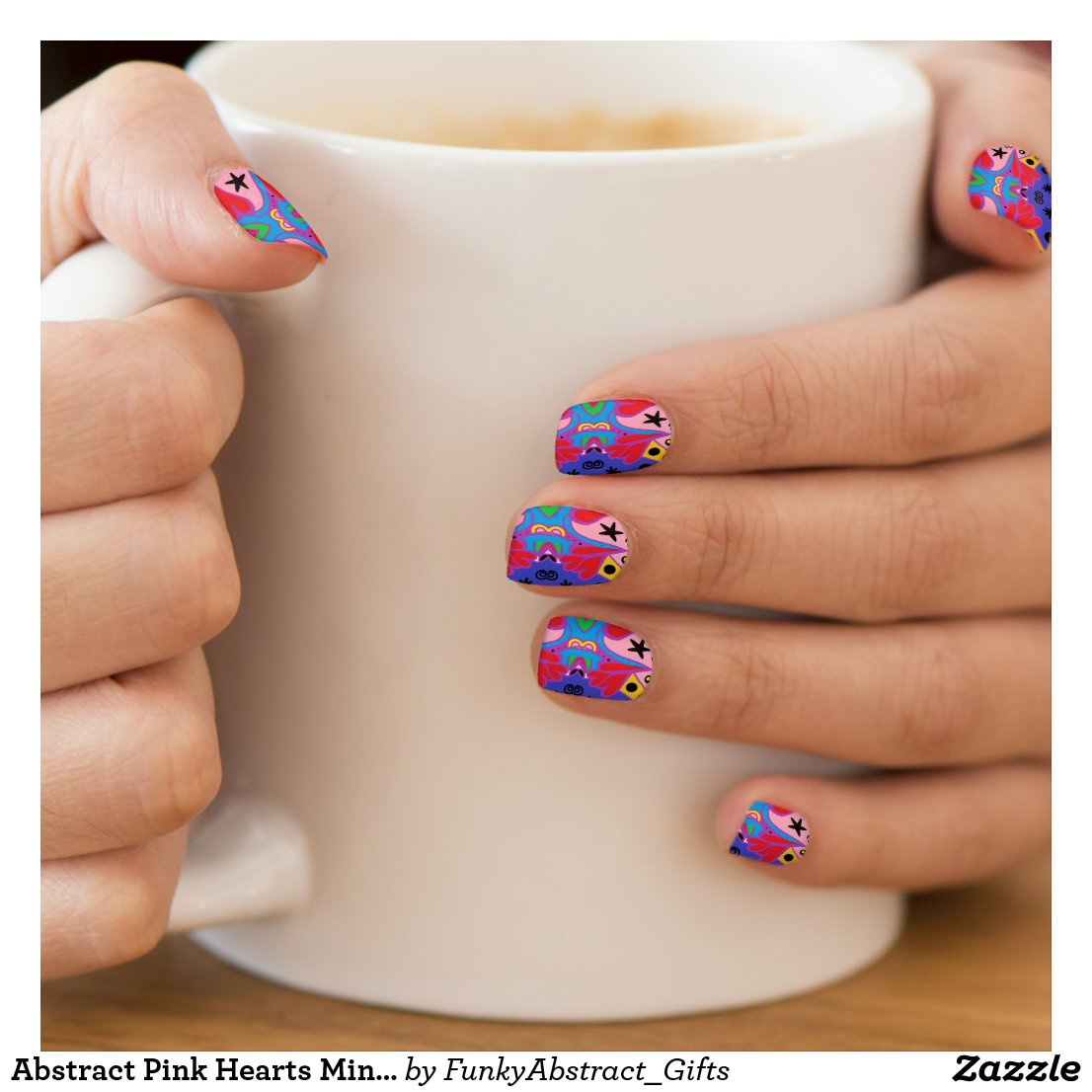Abstract Pink Hearts Minx Nail Art Decal
